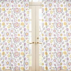Sweet Jojo Designs Suzanna Floral Print Window Panel Pair in Lavender/White