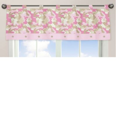 Sweet Jojo Designs Camo Window Valance in Pink