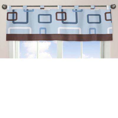 Sweet Jojo Designs Geo Window Valance in Blue/Brown