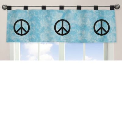 Sweet Jojo Designs Peace Out Window Valance in Blue