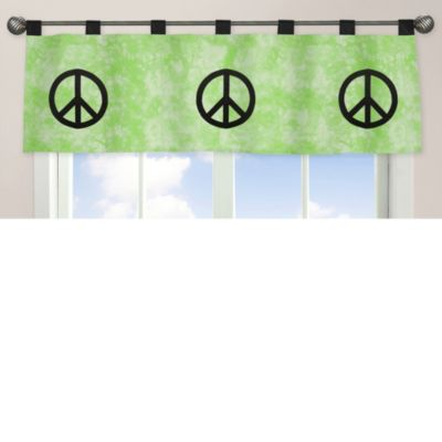 Sweet Jojo Designs Peace Out Window Valance in Green