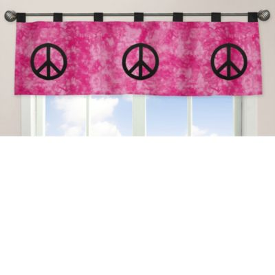 Sweet Jojo Designs Peace Out Window Valance in Pink