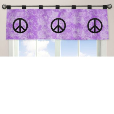 Sweet Jojo Designs Peace Out Window Valance in Purple