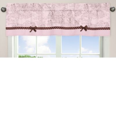 Sweet Jojo Designs French Toile and Polka Dot Window Valance in Pink/Brown