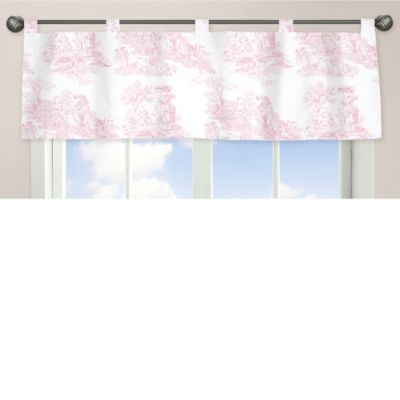 French Toile Window Valance in Pink