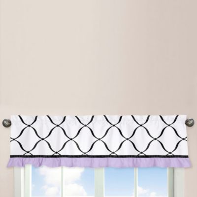 Sweet Jojo Designs Princess Window Valance in Black/White/Purple