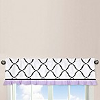 Sweet Jojo Designs Princess 54-Inch x 15-Inch Window Valance in Black/White/Purple