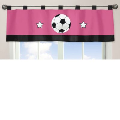 Sweet Jojo Designs Soccer Window Valance in Pink