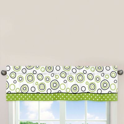 Sweet Jojo Designs Spirodot 54-Inch x 15-Inch Window Valance in Lime/Black