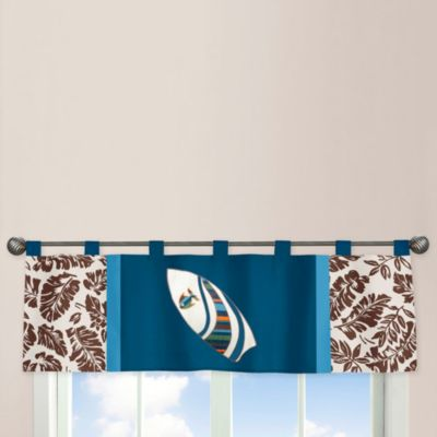 Sweet Jojo Designs Surf Window Valance in Blue/Brown