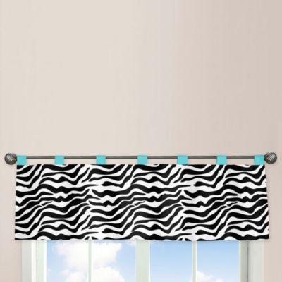 Sweet Jojo Designs Funky Zebra Valance in Turquoise