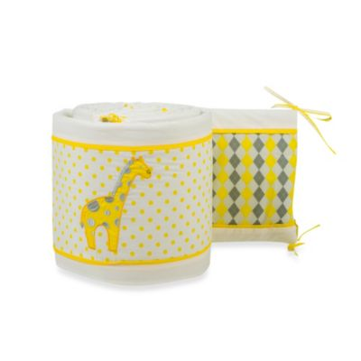 Pam Grace Creations Argyle Giraffe Crib Bumper in Yellow