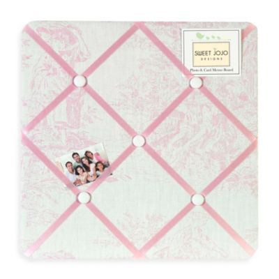 French Toile Fabric Memo Board in Pink