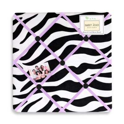 Sweet Jojo Designs Funky Zebra Fabric Memo Board in Purple