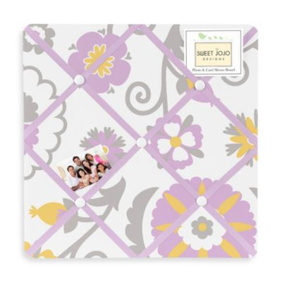 Sweet Jojo Designs Suzanna Fabric Memo Board in Lavender/White