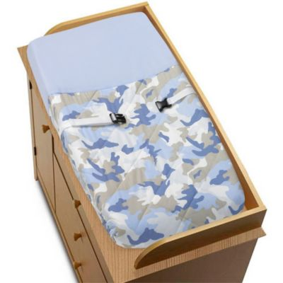 Sweet Jojo Designs Camo Changing Pad Cover in Blue