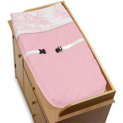 Pink French Toile Changing Pad Cover