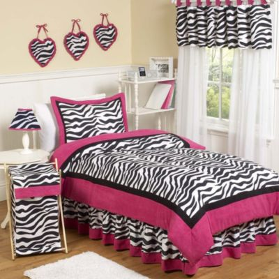 Sweet Jojo Designs Funky Zebra Twin 4-Piece Comforter Set in Pink