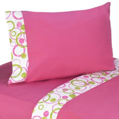 Sweet Jojo Designs Mod Circles 3-Piece Twin Sheet Set in Pink/Green