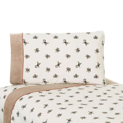 Sweet Jojo Designs Monkey Time 3-Piece Twin Sheet Set