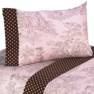 Sweet Jojo Designs French Toile and Polka Dot 3-Piece Twin Sheet Set in Pink/Brown