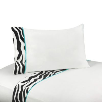 Sweet Jojo Designs Funky Zebra 3-Piece Sheet Set in Turquoise