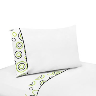Sweet Jojo Designs Spirodot Twin Sheet Set in Lime/Black