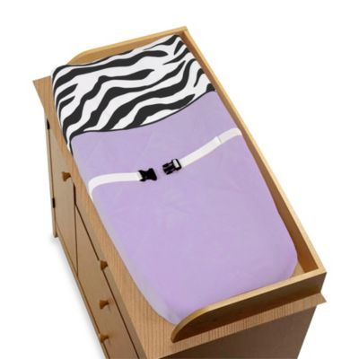 Sweet Jojo Designs Funky Zebra Changing Pad Cover in Purple