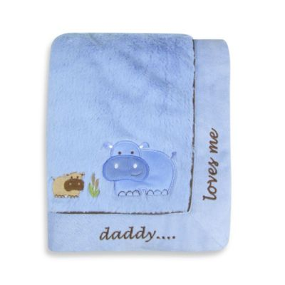 NoJo® Hippos/Daddy Loves Me Cuddle Plush Blanket in Blue