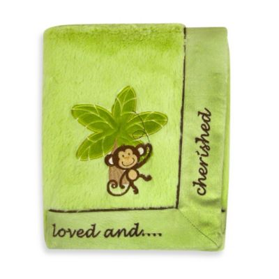 NoJo Monkey/Loved & Cherished Cuddle Plush Blanket in Sage