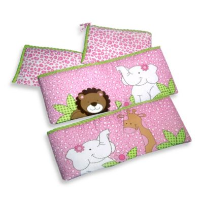New Country Home Laugh, Giggle & Smile Sassy Jungle Friend 4-Piece Crib Bumper Pad Set