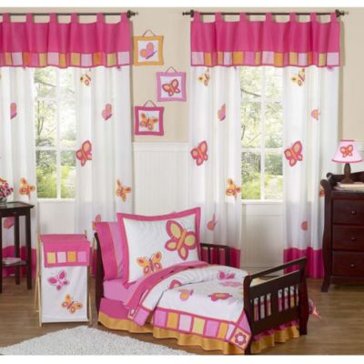 Sweet Jojo Designs Pink and Orange Butterfly 5-Piece Toddler Bedding Set