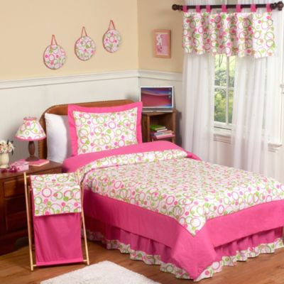 Sweet Jojo Designs Mod Circles 4-Piece Twin Bedding Set in Pink/Green