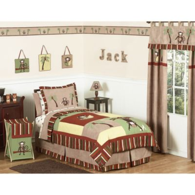 Sweet Jojo Designs Monkey Time 3-Piece Full/Queen Bedding Set