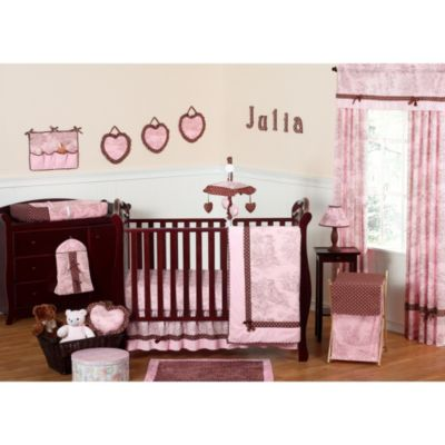 Sweet Jojo Designs French Toile and Polka Dot 11-Piece Crib Bedding Set in Pink/Brown
