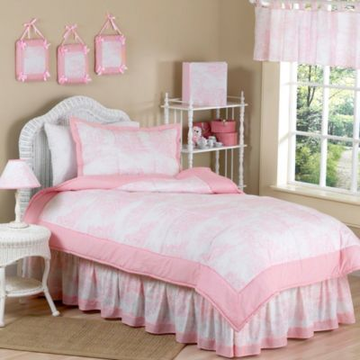 Toile Standard Pillow Sham in Pink
