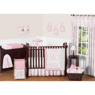 Pink French Toile 11-Piece Crib Bedding Set