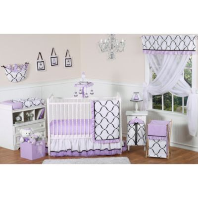 Sweet Jojo Designs Princess 11-Piece Crib Bedding Set in Black/White/Purple