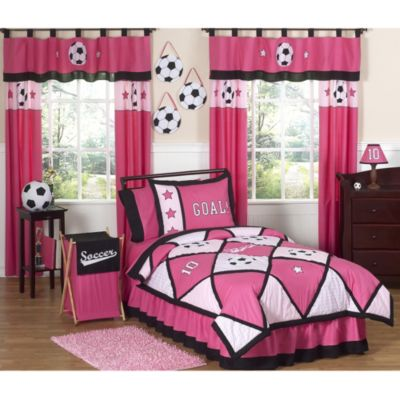 Sweet Jojo Designs Soccer Twin 4-Piece Comforter Set in Pink