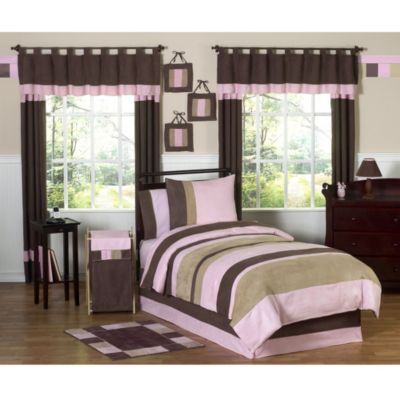 Sweet Jojo Designs Soho 4-Piece Twin Bedding Set in Pink/Brown
