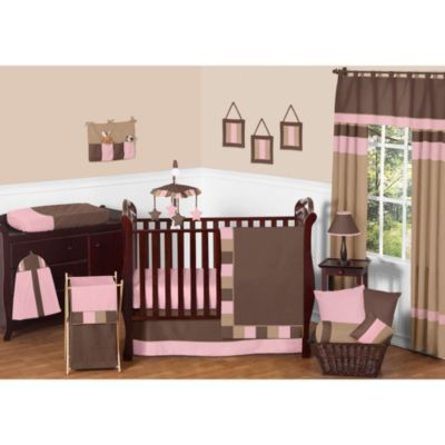 Sweet Jojo Designs Soho 11-Piece Crib Bedding Set in Pink/Brown