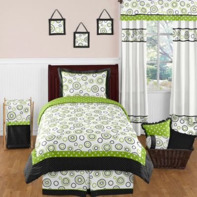 Sweet Jojo Designs Spirodot Bedding Set in Lime and Black