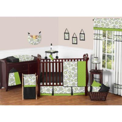 Sweet Jojo Designs Spirodot 11-Piece Crib Bedding Set in Lime/Black