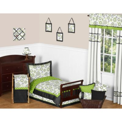 Sweet Jojo Designs Spirodot 5-Piece Toddler Bedding Set in Lime/Black