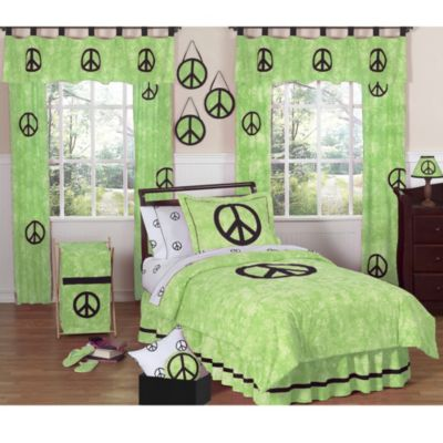 Sweet Jojo Designs Peace Out Full/Queen 3-Piece Bedding Set in Green
