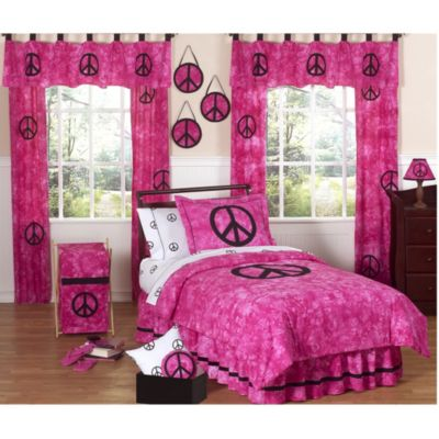Sweet Jojo Designs Peace Out Twin 4-Piece Bedding Set in Pink