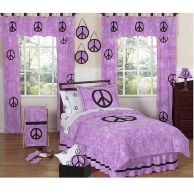 Sweet Jojo Designs Peace Out Bedding 4-Piece Full Set in Purple