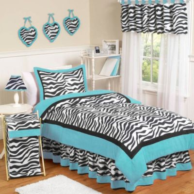 Sweet Jojo Designs Funky Zebra 4-Piece Twin Bedding Set in Turquoise