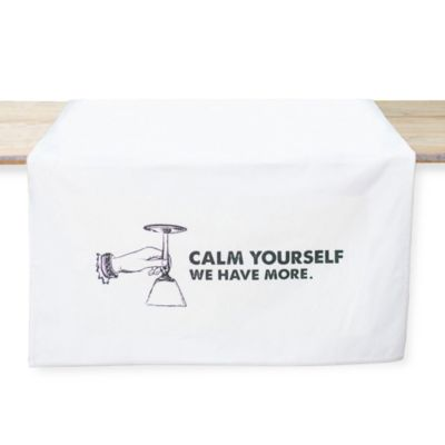 Tin Parade Calm Yourself Table Banner in White