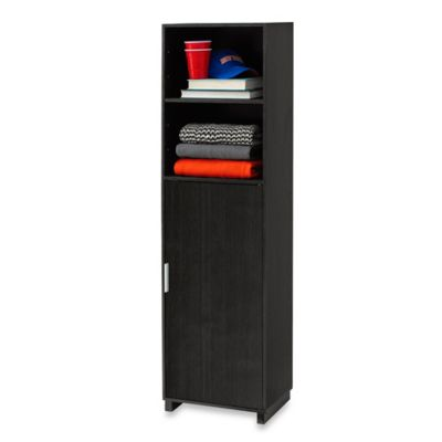 5- Shelf Bookcase with Door in Black